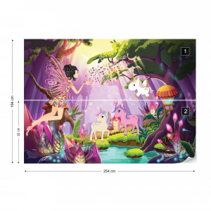 Unicorns And Fairies In The Forest Photo Wallpaper Wall Mural