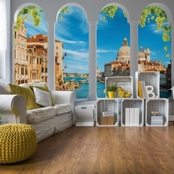 Venice Canal 3D Archway View Photo Wallpaper Wall Mural