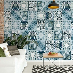 Vintage Blue Tile Pattern Photo Wallpaper Wall Mural