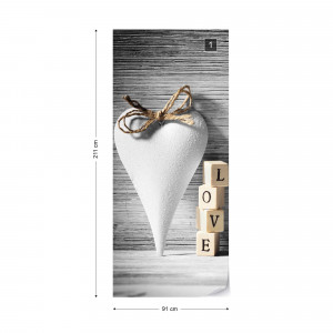 Vintage-Chic Love Heart Photo Wallpaper Wall Mural