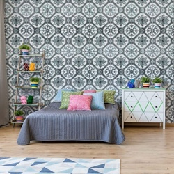 Vintage Tiles Pattern Blue Photo Wallpaper Wall Mural