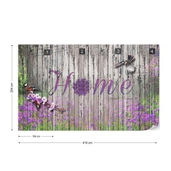 "Vintage Wood Planks Design Lavender ""Home"" Photo Wallpaper Wall Mural"