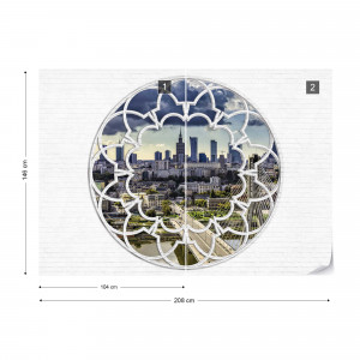 Warsaw City Skyline Ornamental Window View Photo Wallpaper Wall Mural