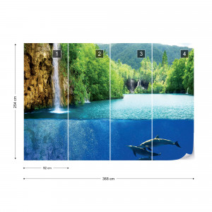 Waterfall Dolphins Photo Wallpaper Wall Mural