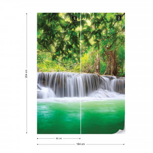 Waterfall Forest Lake Nature Photo Wallpaper Wall Mural
