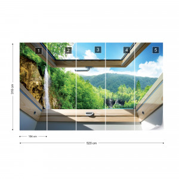 Waterfall Skylight Window View Photo Wallpaper Wall Mural