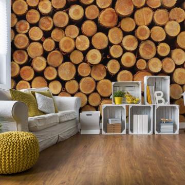 Wood Texture Logs Photo Wallpaper Wall Mural