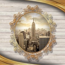 Wood Texture View Of New York City Photo Wallpaper Wall Mural