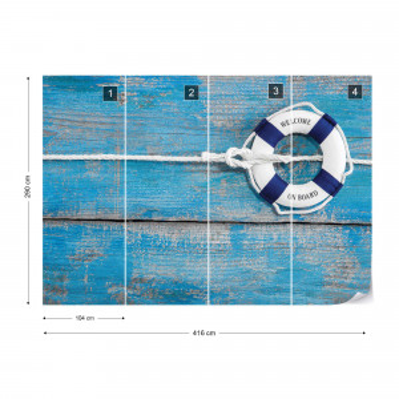 Worn Painted Blue Planks Seaside Coastal Chic Photo Wallpaper Wall Mural
