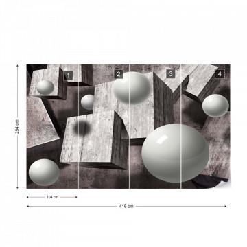 3D Design Balls Concrete Cubes Photo Wallpaper Wall Mural