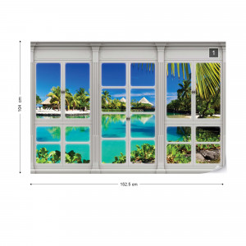 3D Door View Tropical Lagoon Photo Wallpaper Wall Mural