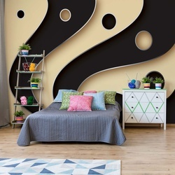 3D Layers Black And Cream Photo Wallpaper Wall Mural