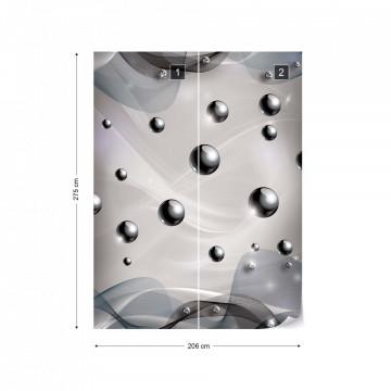 3D Modern Abstract Design Silver Photo Wallpaper Wall Mural