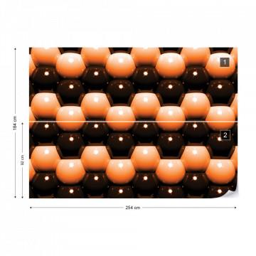 3D Orange And Black Ball Pattern Photo Wallpaper Wall Mural
