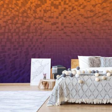 3D Purple And Orange Modern Pixel Design Photo Wallpaper Wall Mural