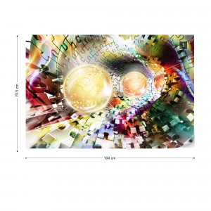 3D Puzzle Tunnel Multicoloured Spheres Photo Wallpaper Wall Mural