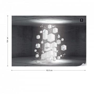 3D White Cubes Photo Wallpaper Wall Mural