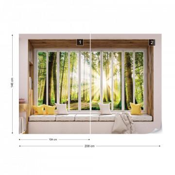 3D Window View Forest Sunrise Photo Wallpaper Wall Mural