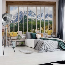 3D Window View Mountains Alps Photo Wallpaper Wall Mural