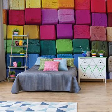 3D Wood Blocks Multicoloured Photo Wallpaper Wall Mural