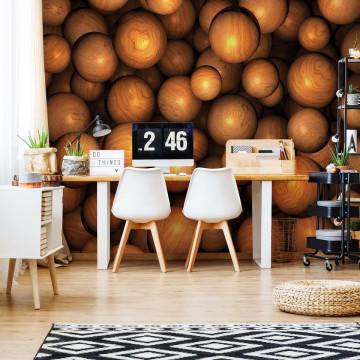 3D Wooden Balls Photo Wallpaper Wall Mural