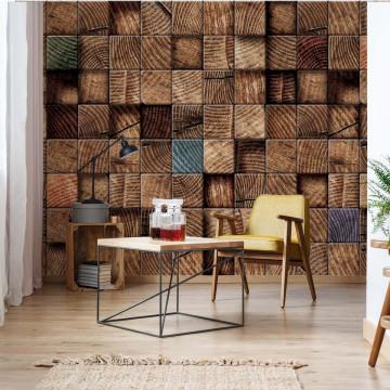 3D Wooden Blocks Texture Photo Wallpaper Wall Mural