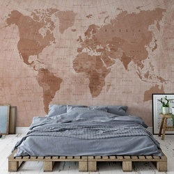 World Map Textured Sepia