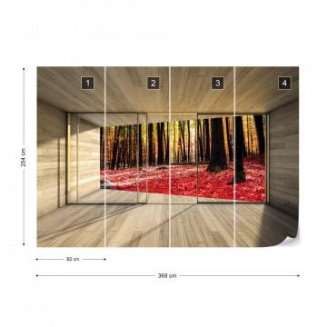 Autumn Forest 3D Modern Window View Photo Wallpaper Wall Mural