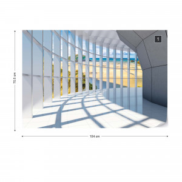 Beach 3D Modern Architecture View Photo Wallpaper Wall Mural