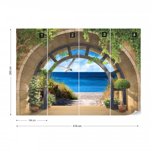 Beach Archway View Photo Wallpaper Wall Mural