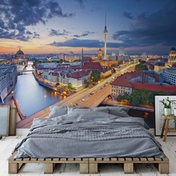Berlin City Skyline At Night Fernsehturm Photo Wallpaper Wall Mural