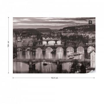 Black And White City Bridges Photo Wallpaper Wall Mural