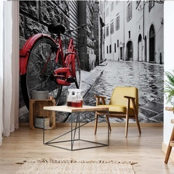 Black And White Red Bicycle Old Street Photo Wallpaper Wall Mural