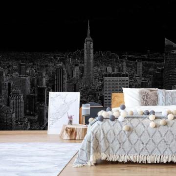 Black Modern New York Skyline Photo Wallpaper Wall Mural
