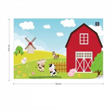 Cartoon Farm Farmyard Animals Photo Wallpaper Wall Mural