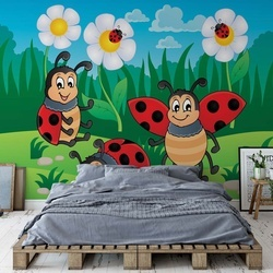 Cartoon Ladybirds Photo Wallpaper Wall Mural