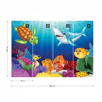 Cartoon Sea Creatures Photo Wallpaper Wall Mural