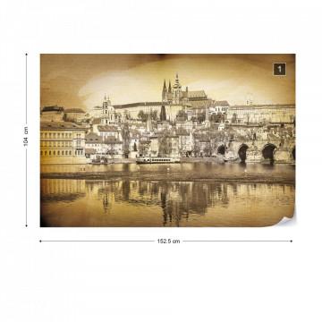 City Prague Bridge Sepia Photo Wallpaper Wall Mural
