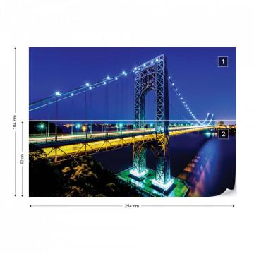 City Skyline Bridge At Night Photo Wallpaper Wall Mural
