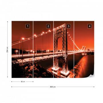 City Skyline Bridge At Night Red Photo Wallpaper Wall Mural