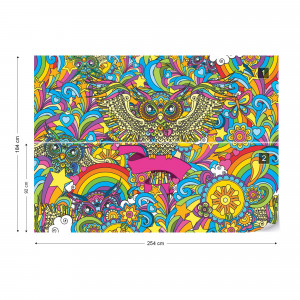 Colorful Owls Stars Rainbow Flowers Photo Wallpaper Wall Mural
