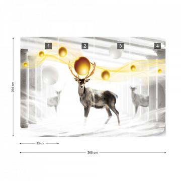 Deer Spheres Abstract Design Photo Wallpaper Wall Mural