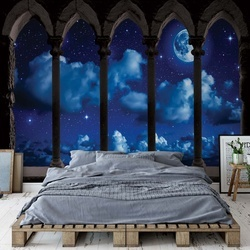Dreamy Night Sky Stone Archway View Photo Wallpaper Wall Mural
