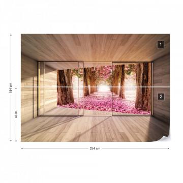 Forest Pink Blossom 3D Modern Window View Photo Wallpaper Wall Mural
