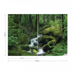 Forest Waterfall Rocks Nature Photo Wallpaper Wall Mural