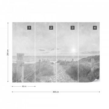 Fototapet - Apus de Vară – Aspect Vintage Alb-Negru