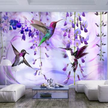 Fototapet autoadeziv - Flying Hummingbirds (Violet)