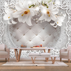 Fototapet autoadeziv - Lilies and Quilted Background