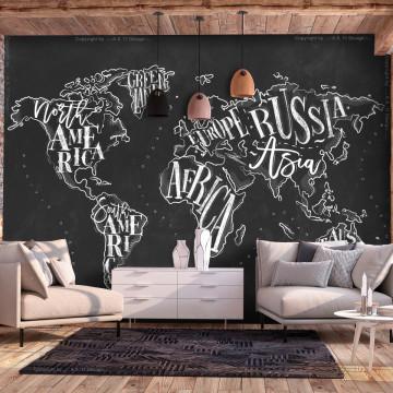 Fototapet autoadeziv - Retro Continents (Black)