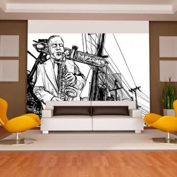 Fototapet - Saxophone recital on Broadway